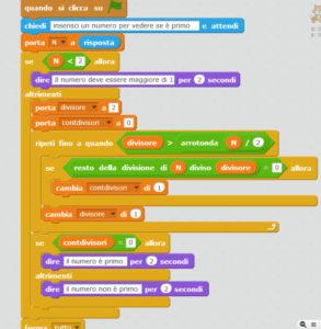 algoritmi dei numeri orimi con Scratch