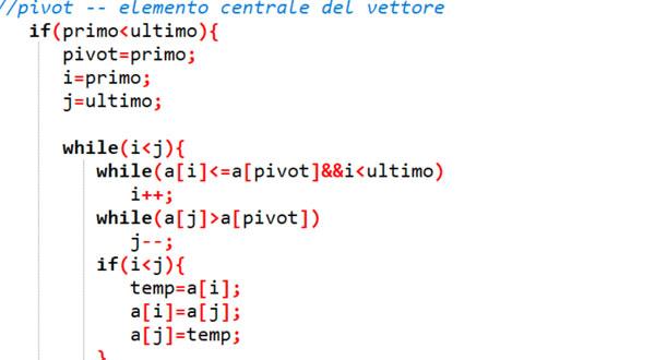 quicksort in linguaggio C