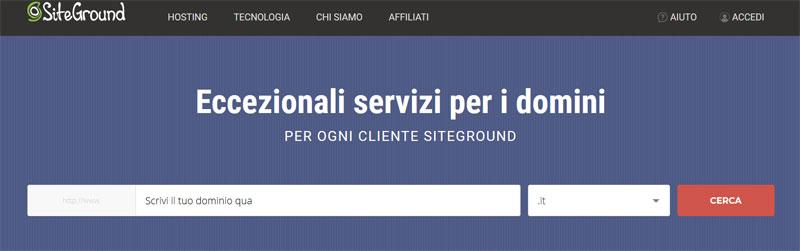 Cerca dominio libero siteground