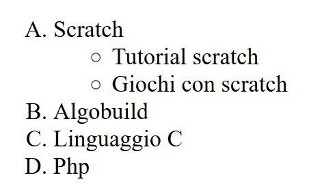 elenchi ol con attributo type html