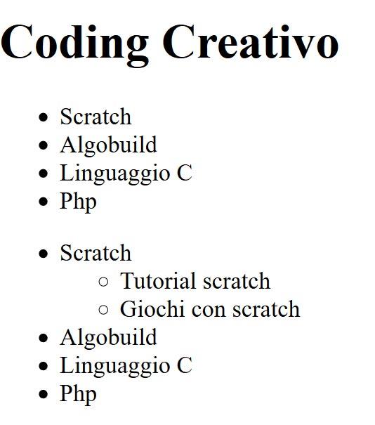 elenco annidato html