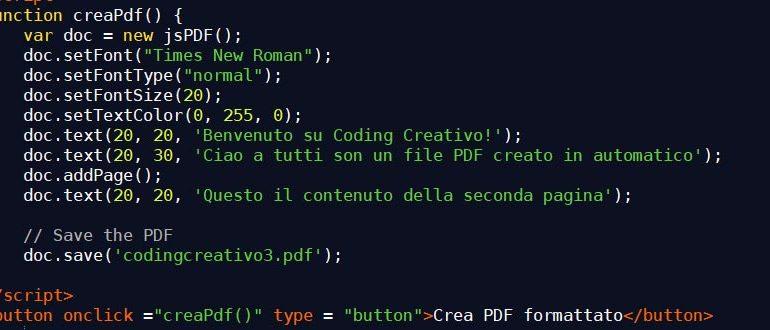 crea pdf con javascript
