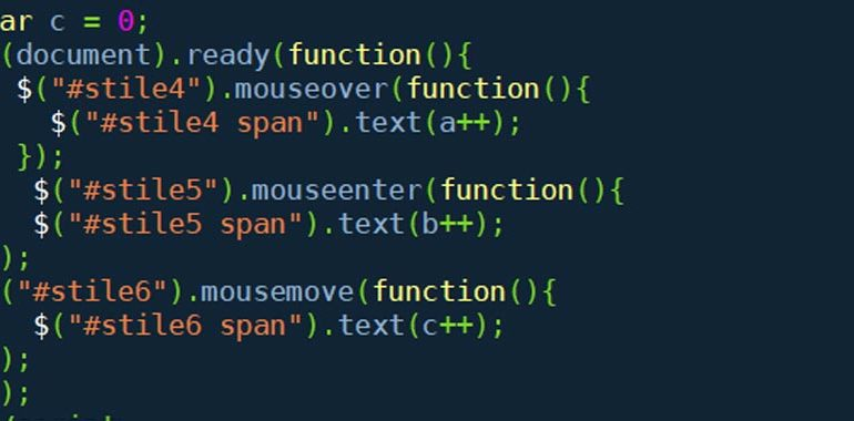 Metodi mouseenter(), mousemove() e mouseleave()