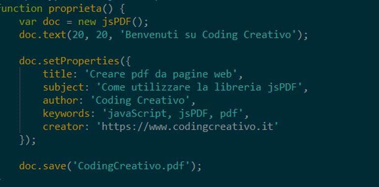 proprietà di un pdf con javascript