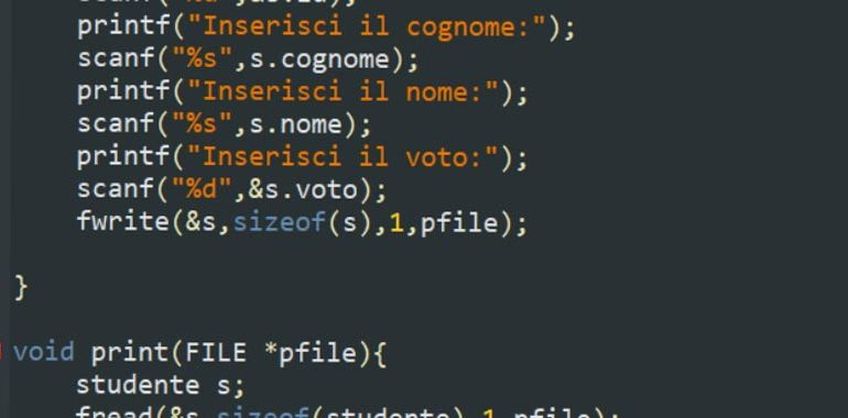 Esercizi su file e strutture in C