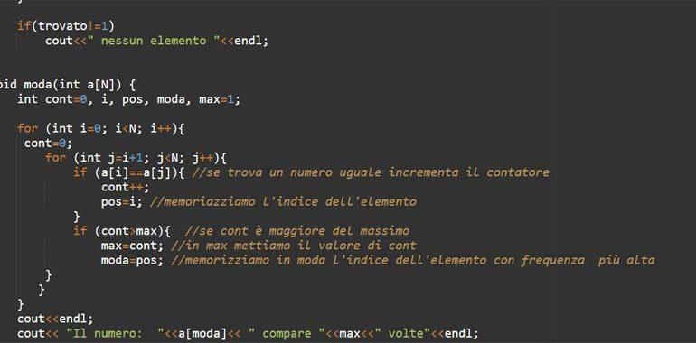array e funzioni in C++