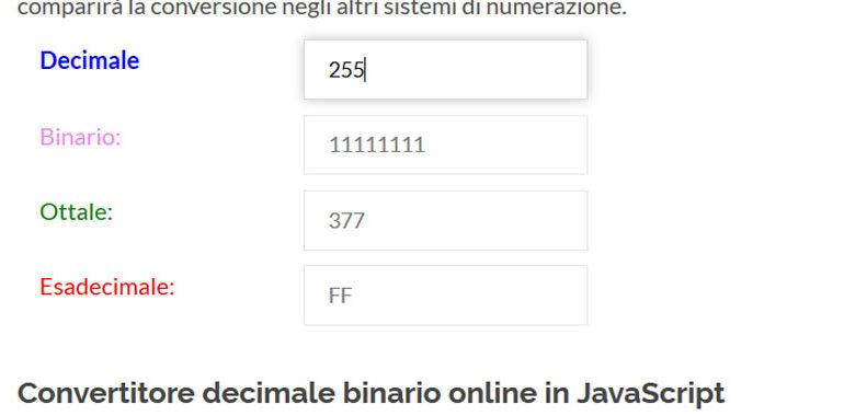 convertitore decimale binario online