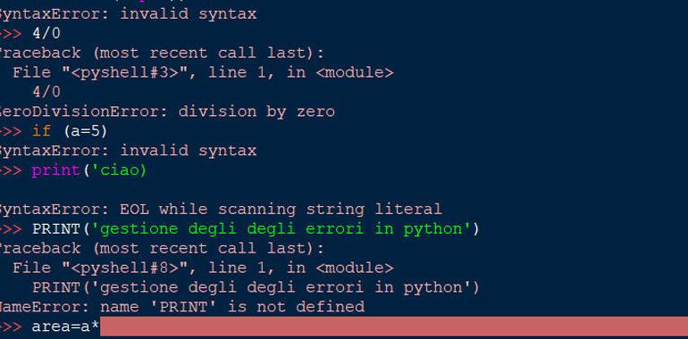 errori in python
