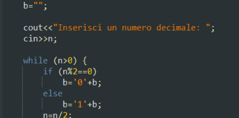 Convertitore decimale binario in C++