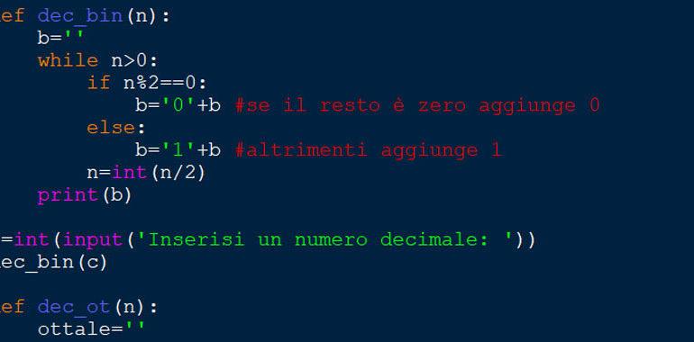 Convertitore decimale binario in pyhton