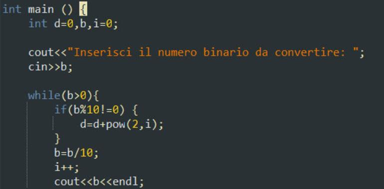 Convertire da decimale a binario in C++
