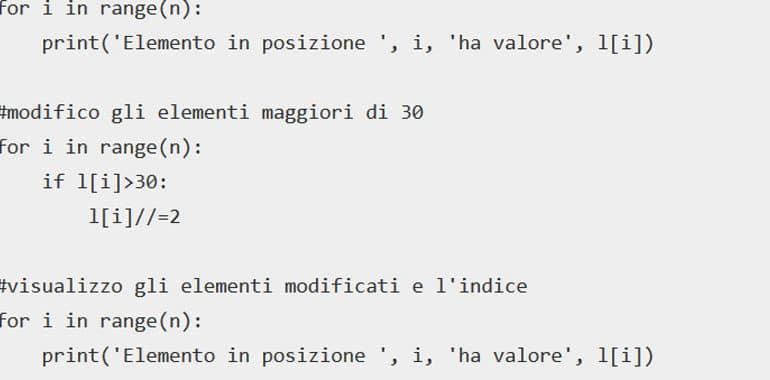 Esercizi svolti sulle liste in Python