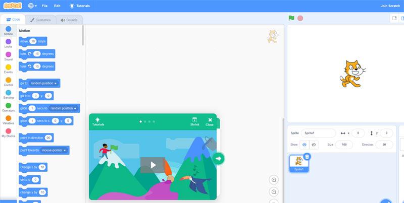 area di lavoro Scratch 3 online