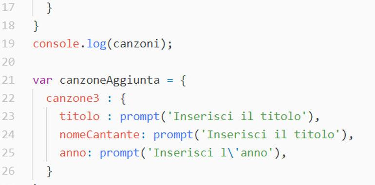 Esercizi sugli oggetti in JavaScript