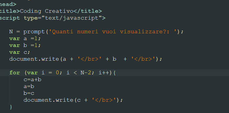 Successione di Fibonacci in JavaScript