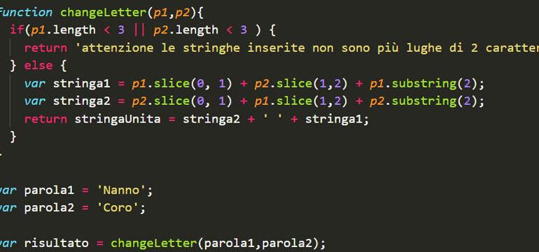 Esercizi sulle stringhe in JavaScript