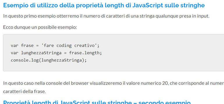 Proprietà length di JavaScript