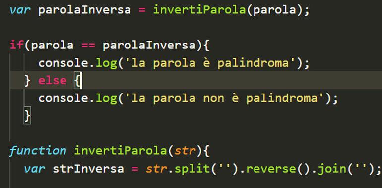 Parola palindroma in JavaScript